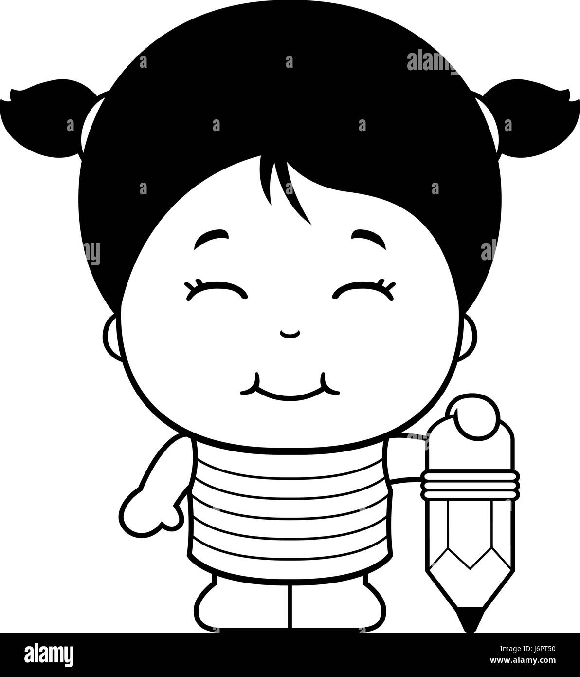 Asian girl pencil drawing black and white stock photos