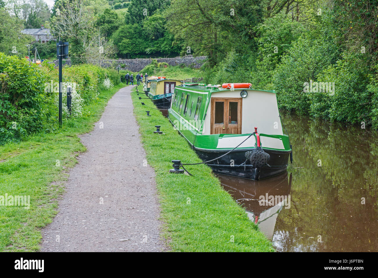 Narrowboats on the Brecon Monmouth Canal at Talybont on Usk, Brecon Beacons - Stock Image