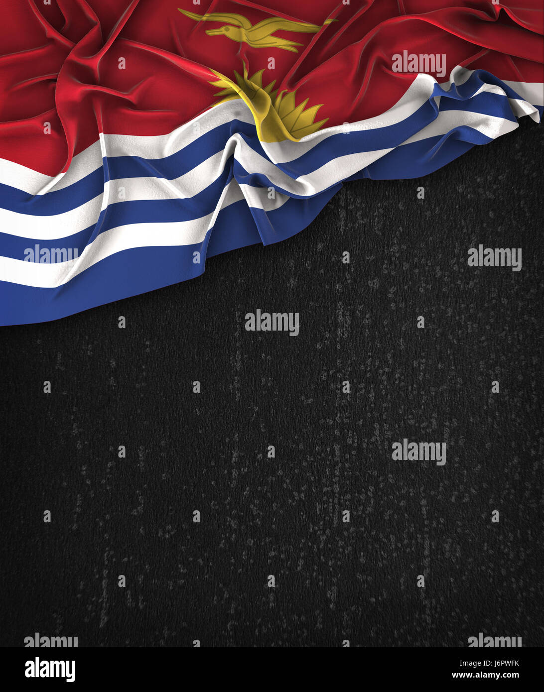 Kiribati Flag Vintage on a Grunge Black Chalkboard With Space For Text - Stock Image