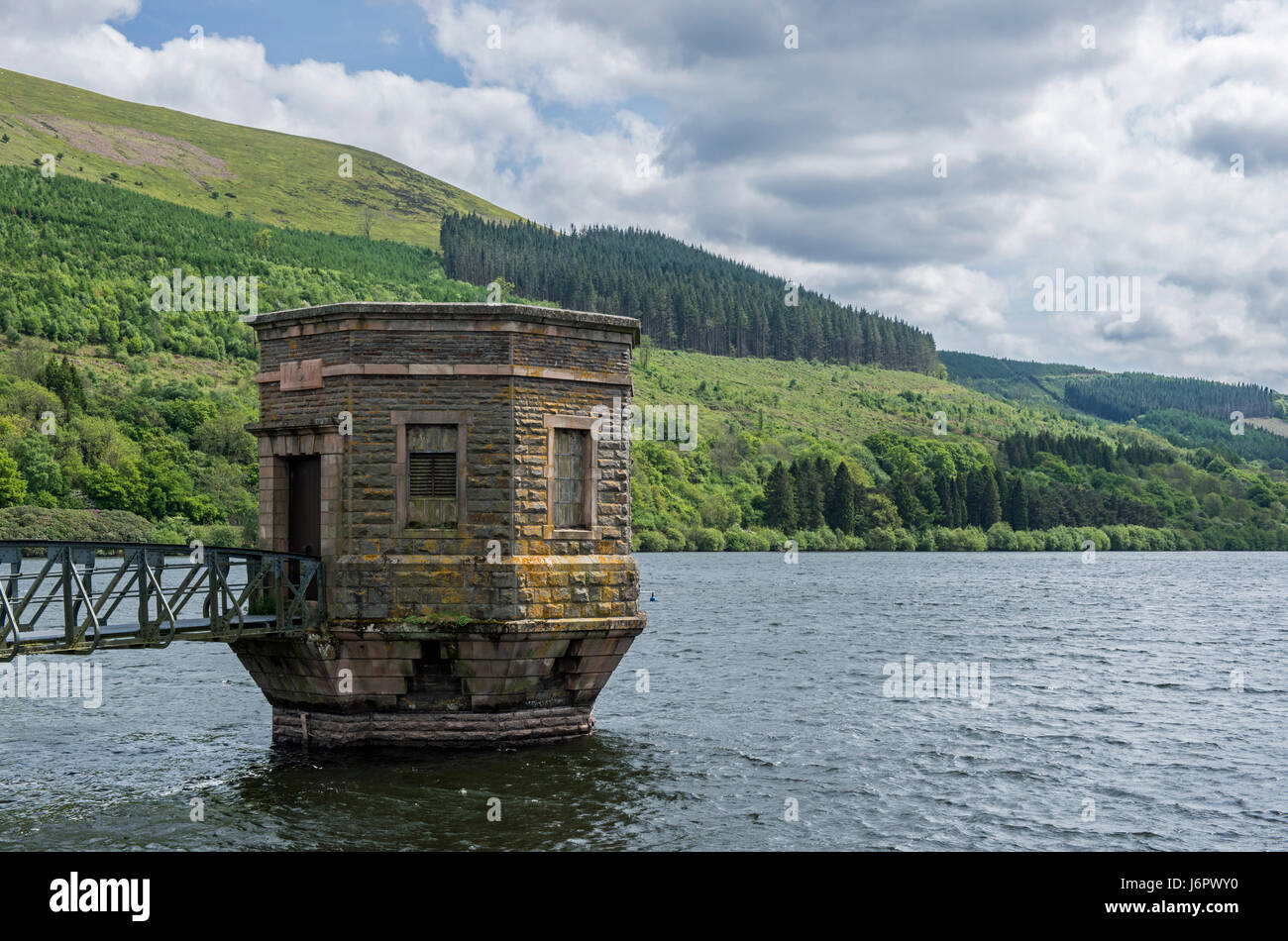 Water tower Talybont reservoir brecon beacons national park wales - Stock Image
