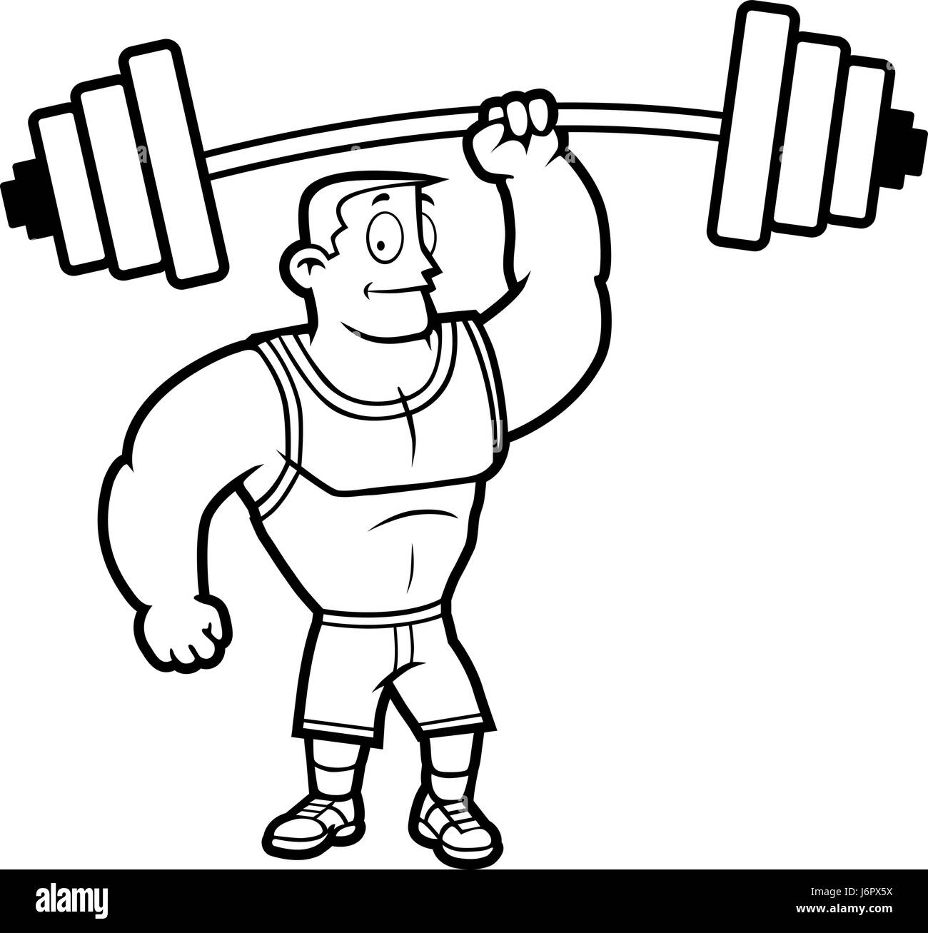 a cartoon strong man lifting a heavy weight stock vector art rh alamy com clipart man lifting weights man lifting weights clipart