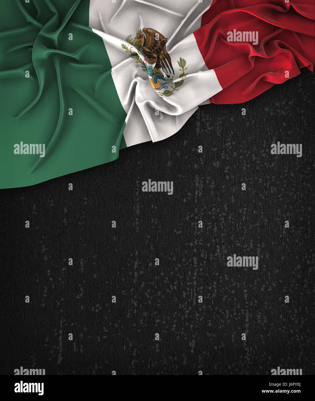 Mexico Flag Vintage on a Grunge Black Chalkboard With Space For Text - Stock Image