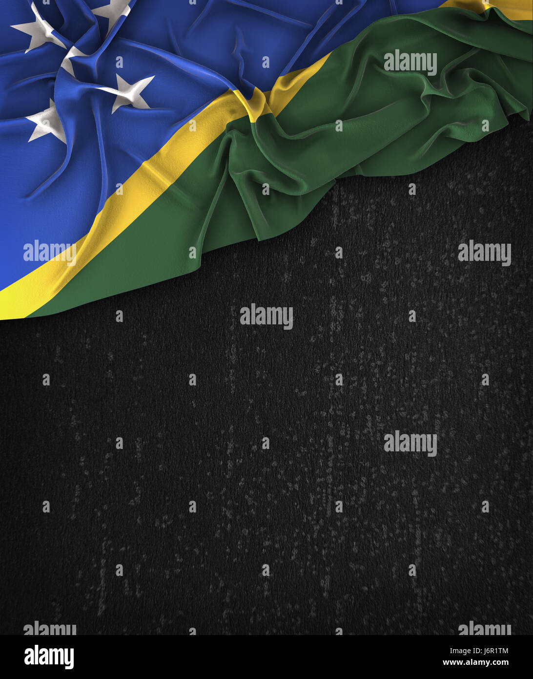 Solomon Islands Flag Vintage on a Grunge Black Chalkboard With Space For Text - Stock Image