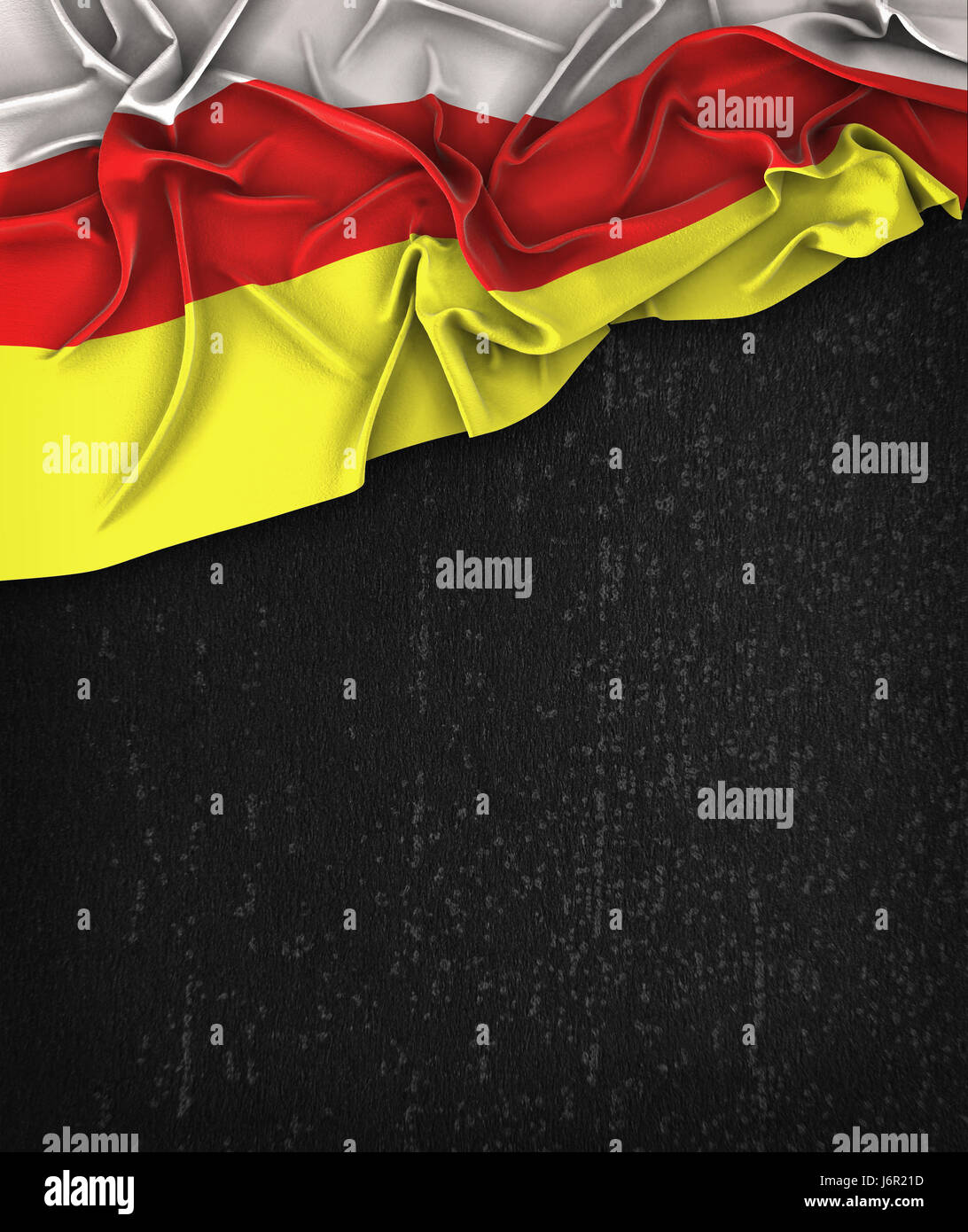 South Ossetia Flag Vintage on a Grunge Black Chalkboard With Space For Text - Stock Image