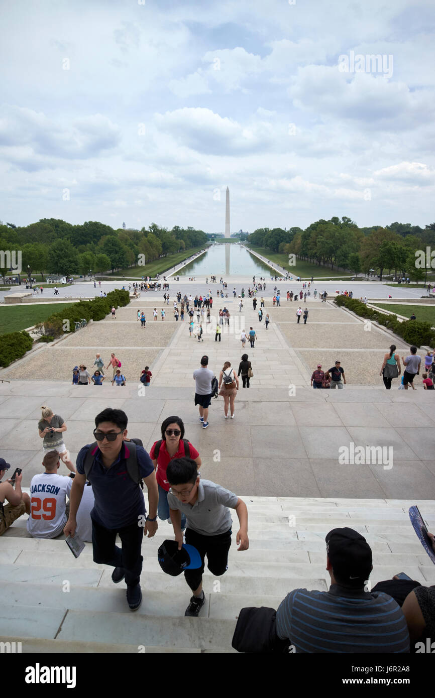 looking out of the lincoln memorial along the national mall and reflecting pool Washington DC USA - Stock Image