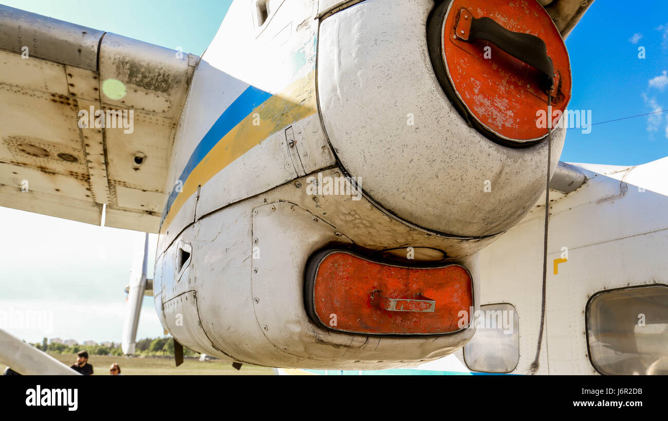 A   view of an old  turboprop-powered aircraft engine. - Stock Image