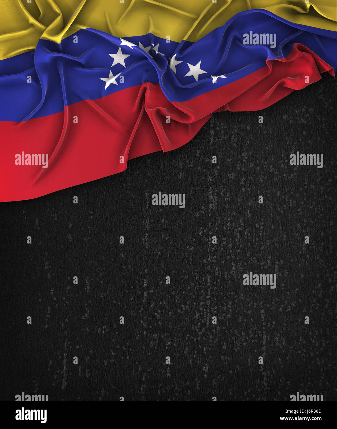 Venezuela Flag Vintage on a Grunge Black Chalkboard With Space For Text - Stock Image