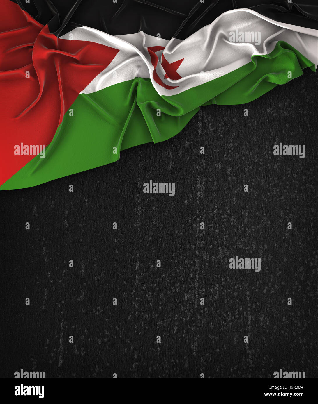 Sahrawi Flag Vintage on a Grunge Black Chalkboard With Space For Text - Stock Image