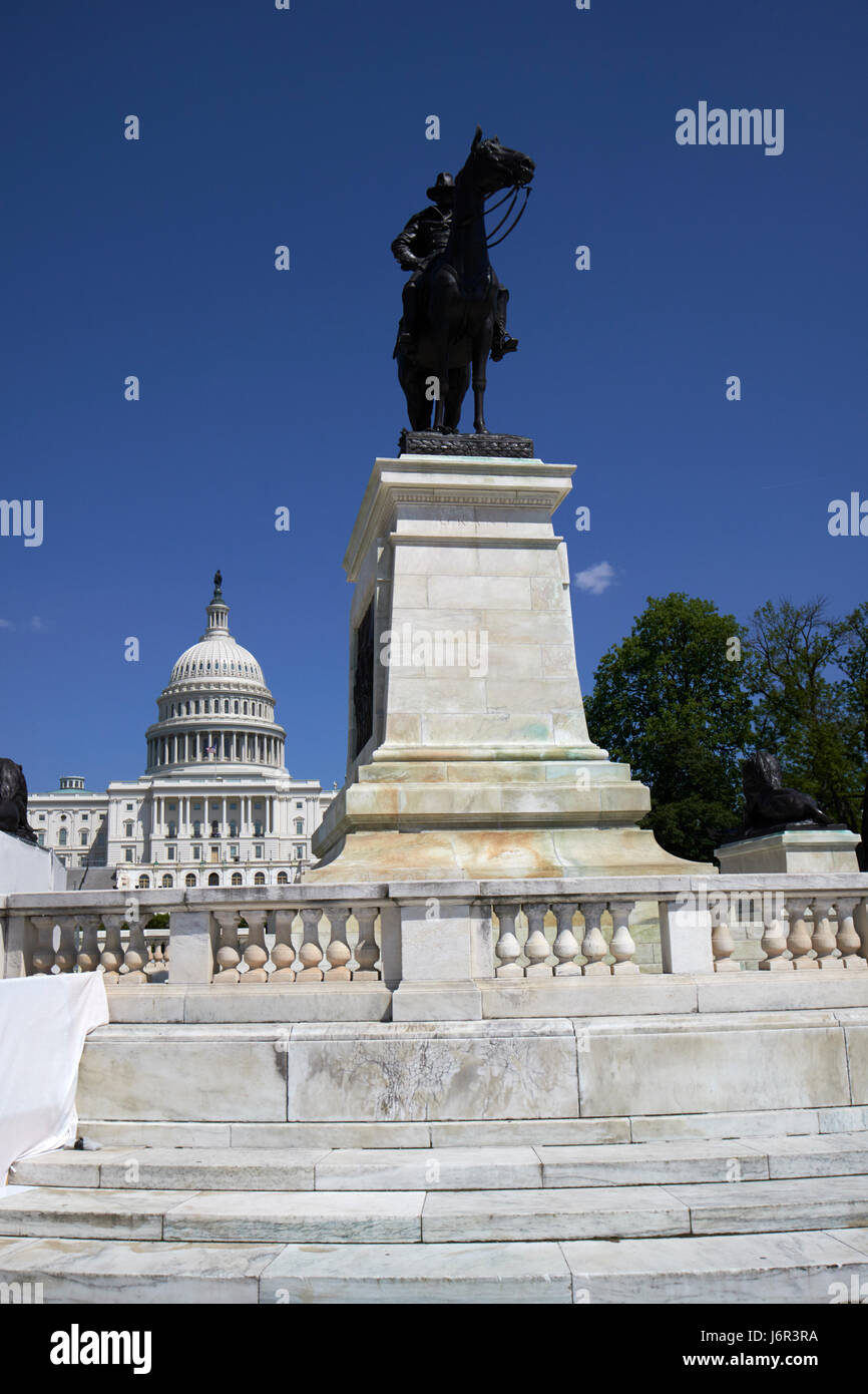 the ulysses s grant memorial in front of the United States Capitol building Washington DC USA - Stock Image