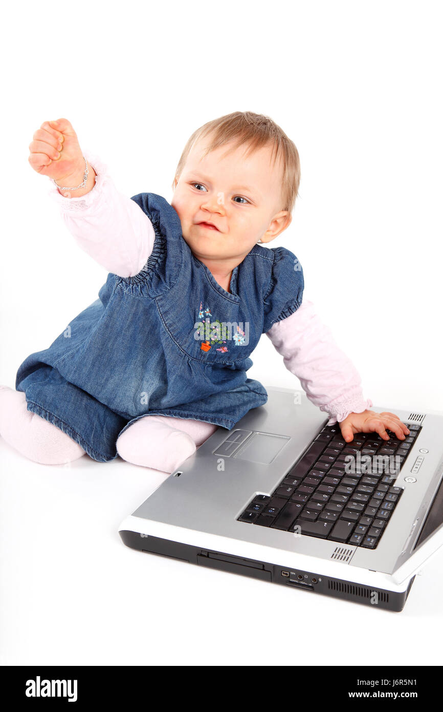 baby anger resentment annoy computer error child girl girls error earnest - Stock Image