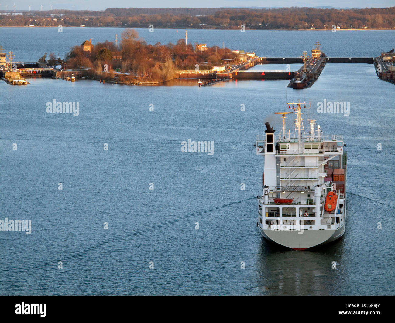 container ship,container feeder on the kiel canal,kiel Stock Photo