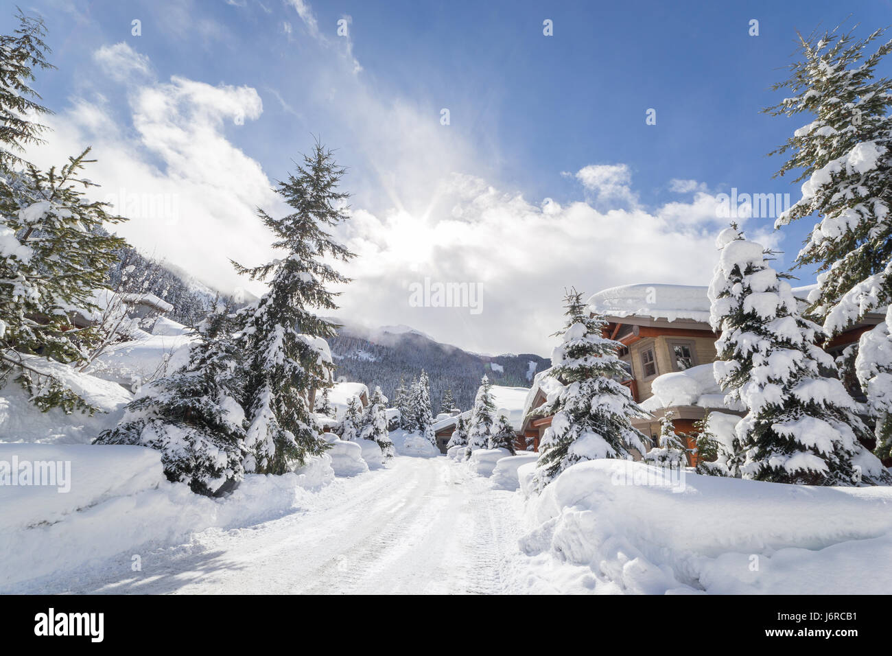 Alpine homes at the foot of Whistler Mountain. - Stock Image