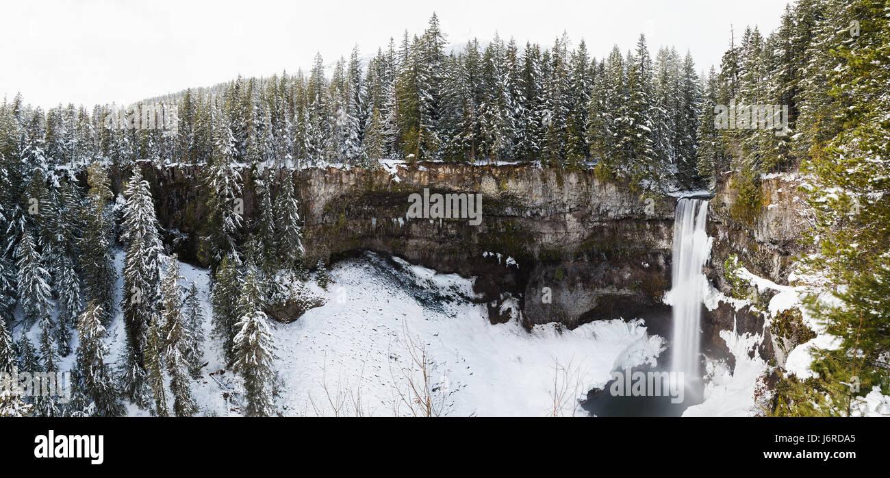 Panorama of Brandywine Falls in winter - Stock Image