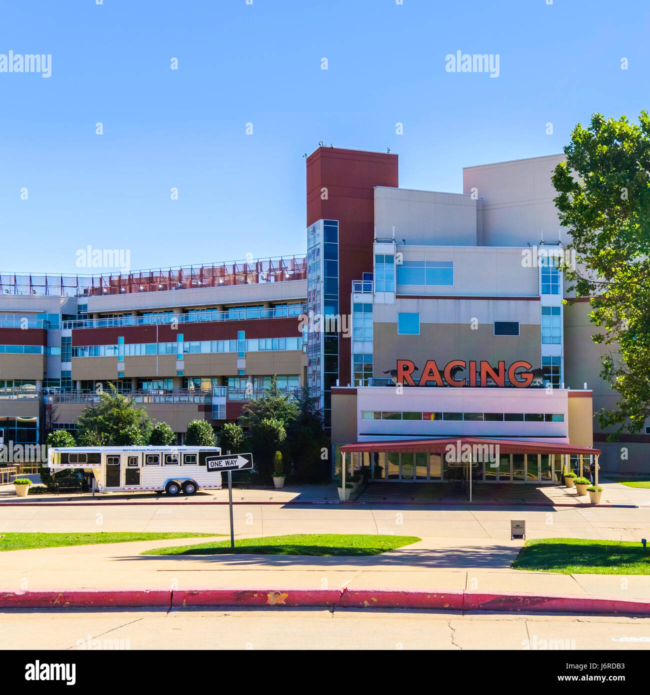 The entrance to Remington Park horse racing track in Oklahoma City, Oklahoma, USA. - Stock Image