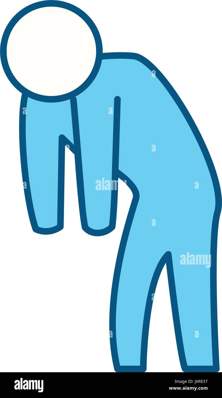 man silhouette depressed - Stock Vector