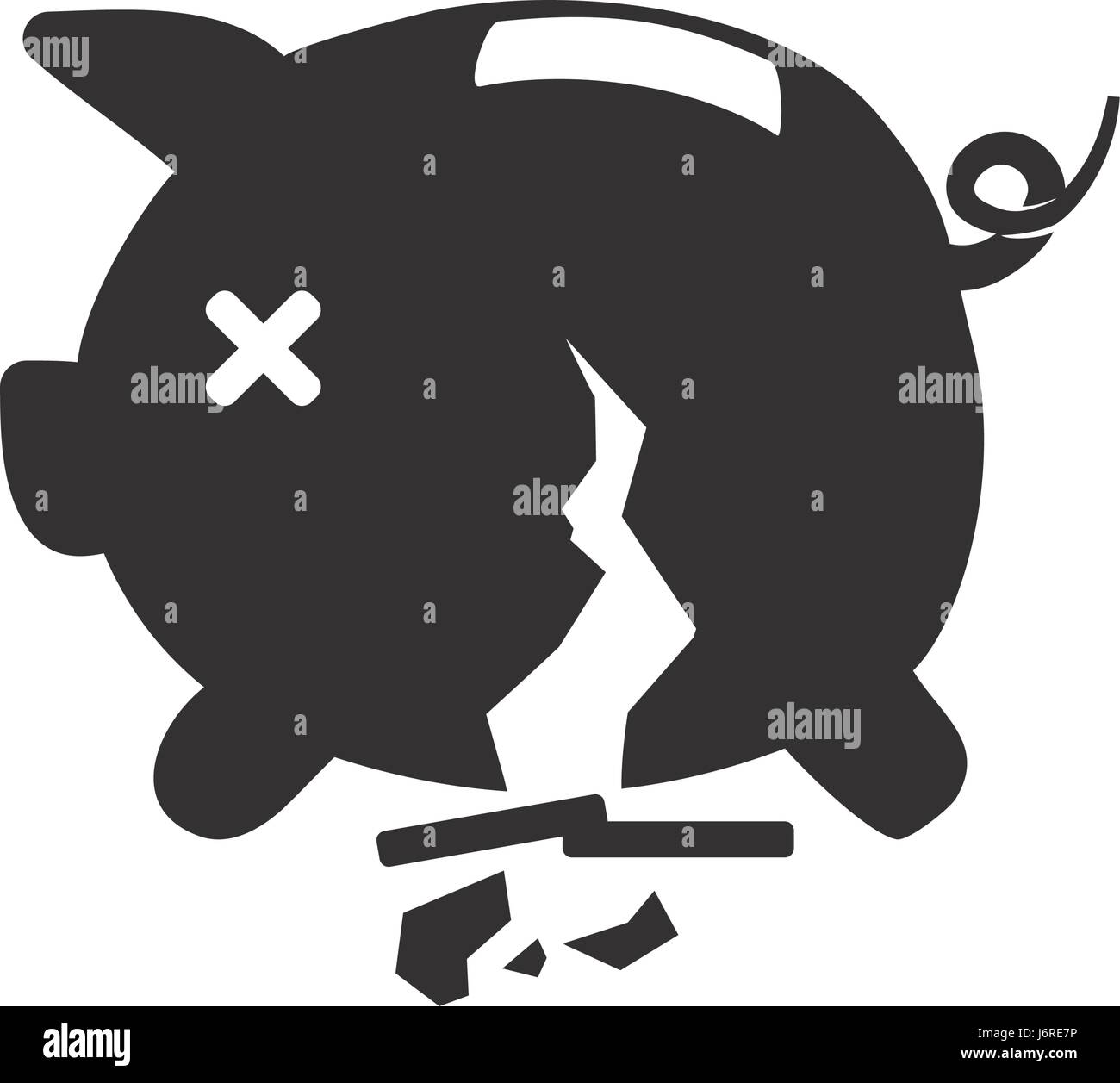 broke savings moneybox - Stock Image