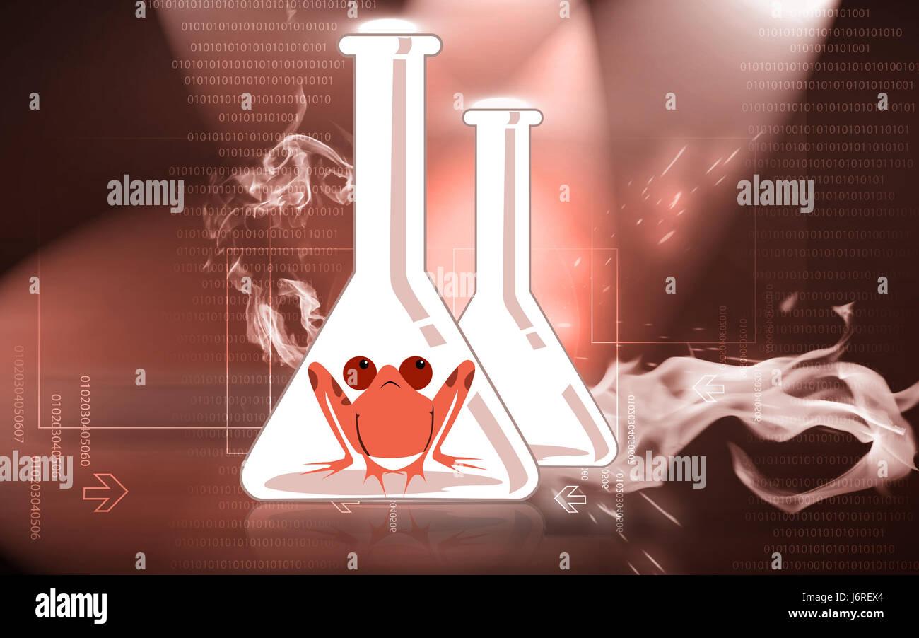 experiment frog laboratory zoology flask green inside illustration put sitting - Stock Image