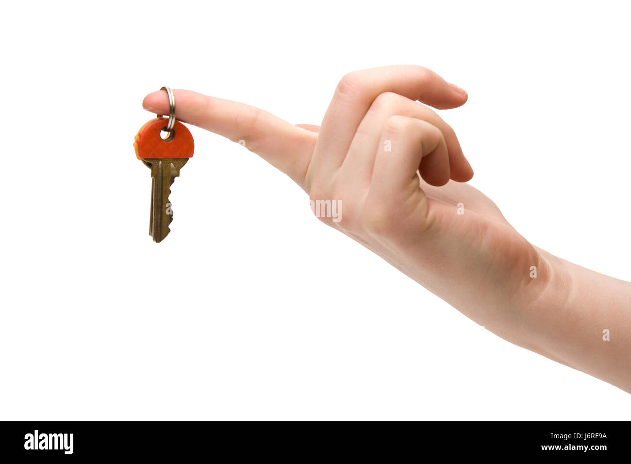house building female forefinger key home flat apartment at home hang woman - Stock Image