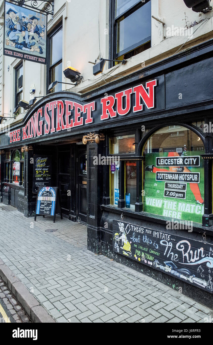 The King Street Run pub in King Street, Cambridge, UK. The pub is named after a famous student pub crawl that takes - Stock Image