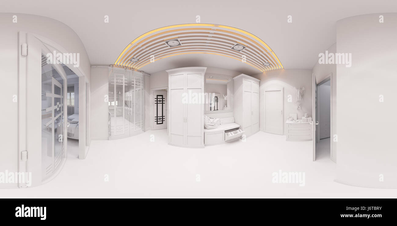 3d Illustration Hall Interior Design In Classic Style. Render Is Made,  Seamless 360 Degree Spherical Panorama Without Textures And Materials In  Gray T