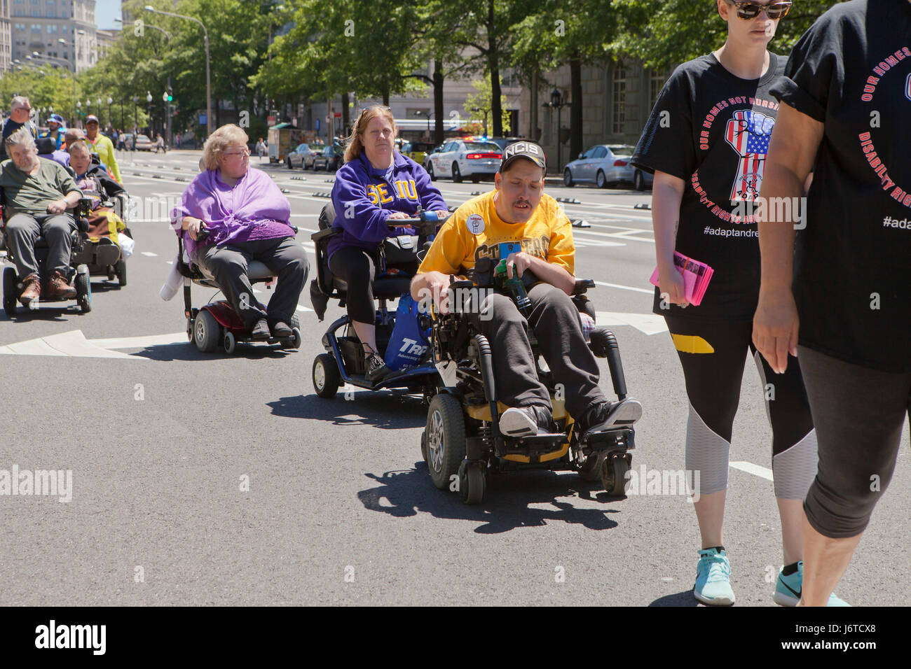 May 15, 2017, Washington, DC USA:  Members of ADAPT and disability activists, many in wheelchairs, protest and demand - Stock Image