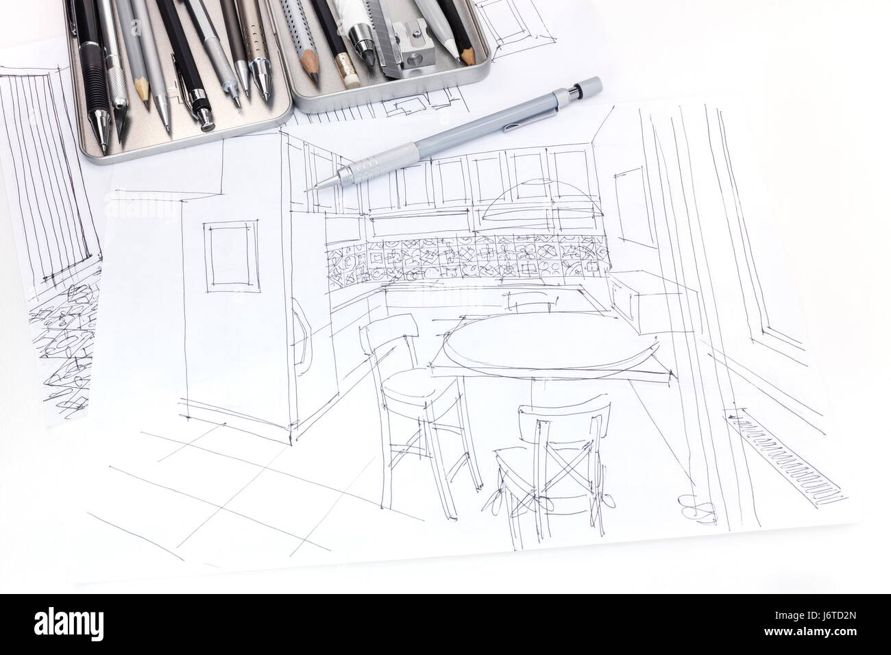 Hand Drawn Sketch Of Kitchen Interior And Furniture Blueprint With