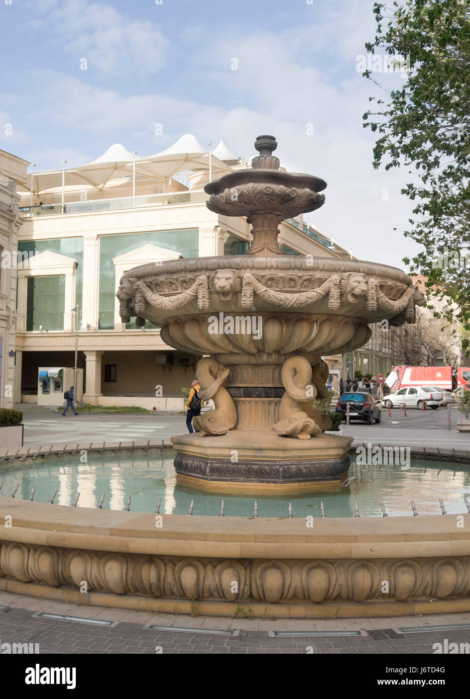 Fountain Decorated With Elaborate Stone Carvings In Nizami Street, Shopping  Area In Inner City Baku Azerbaijan