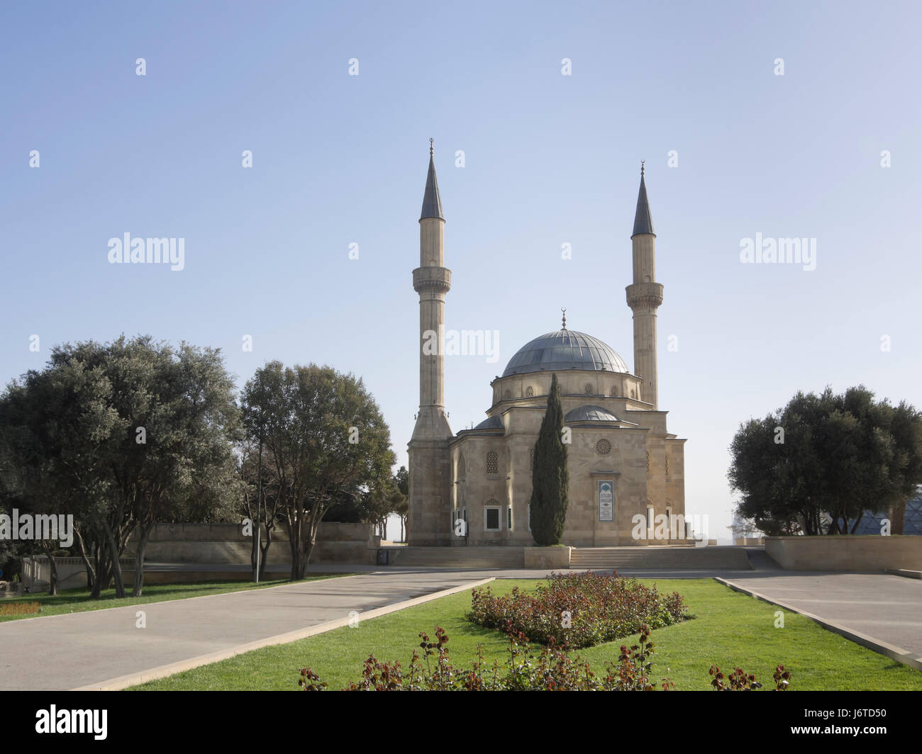 Mosque of the Martyrs or Turkish Mosque, built in 1990s in Ottoman style near  Martyrs' Lane in the capital of Azerbaijan Stock Photo