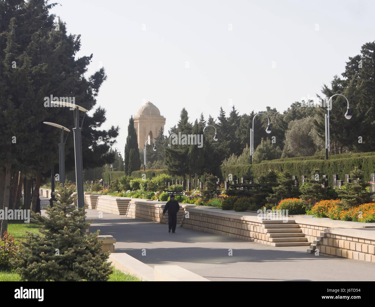 Martyrs' Lane, cemetery and memorial in Baku Azerbaijan, has  graves from Black January 1990 and Nagorno-Karabakh Stock Photo