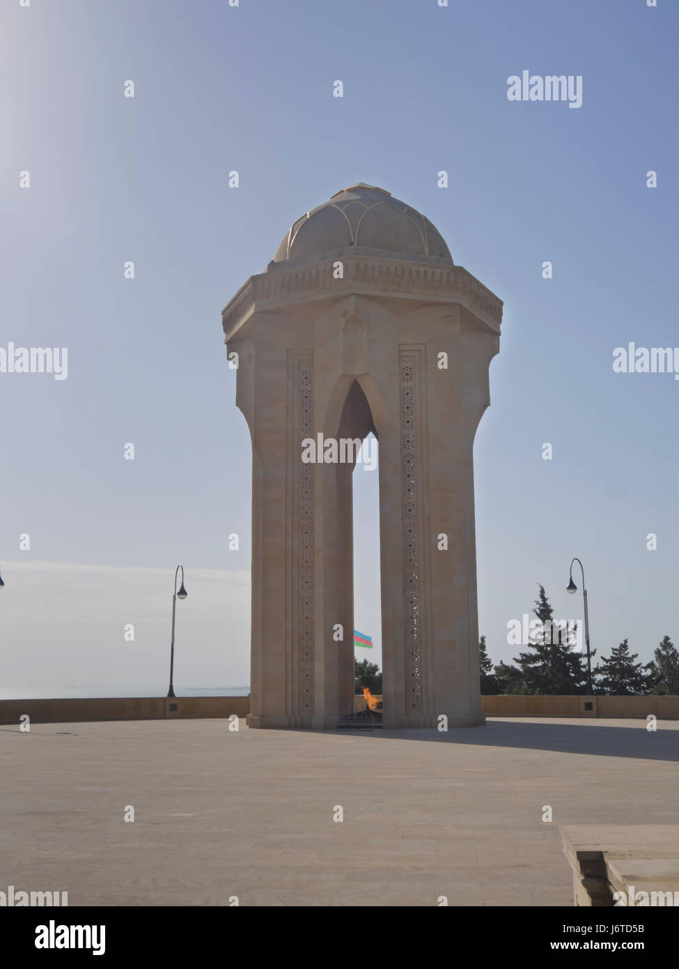 The Eternal Flame memorial at the Martyrs' Lane cemetery and park in Baku Azerbaijan, Stock Photo