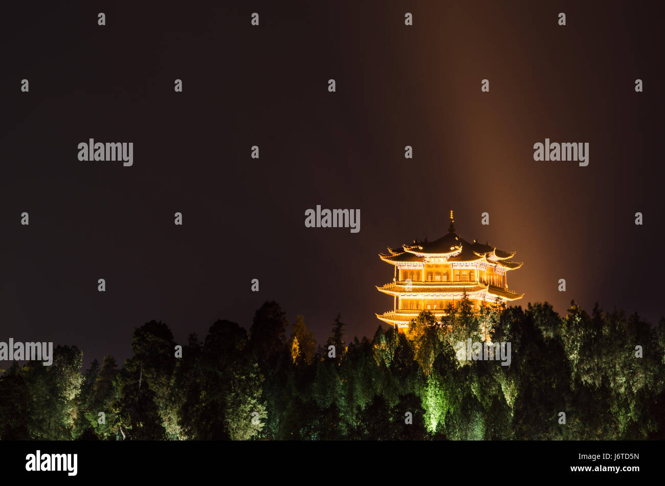 Lijiang,Yunnan - April 14,2017 : Night view of Wangulou in Old Town of Lijiang, Yunnan Province, China. - Stock Image