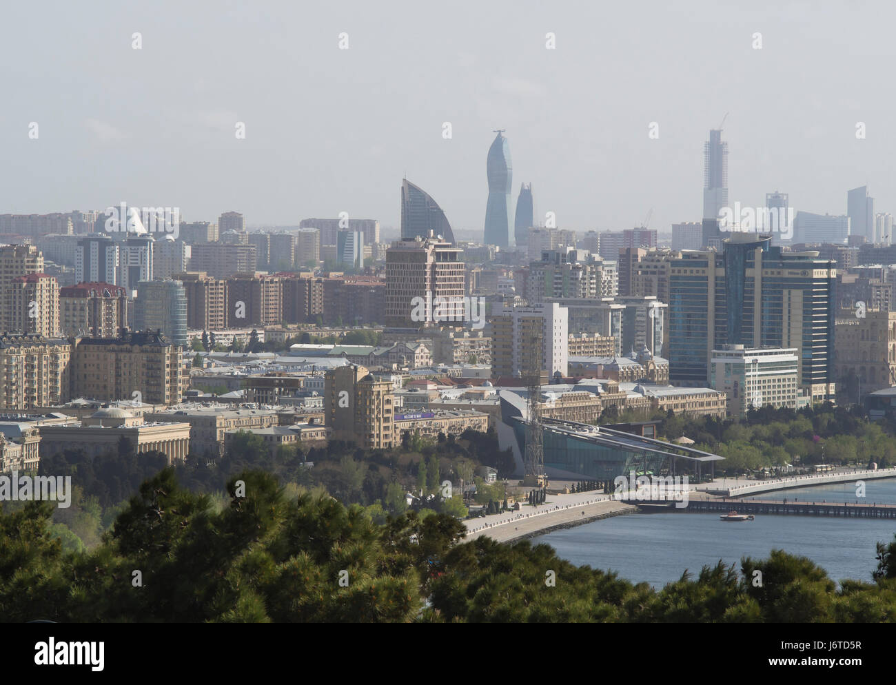 Baku, the capital city of Azerbaijan, on the shore of the Caspian sea, view of  city centre and seaside promenade - Stock Image
