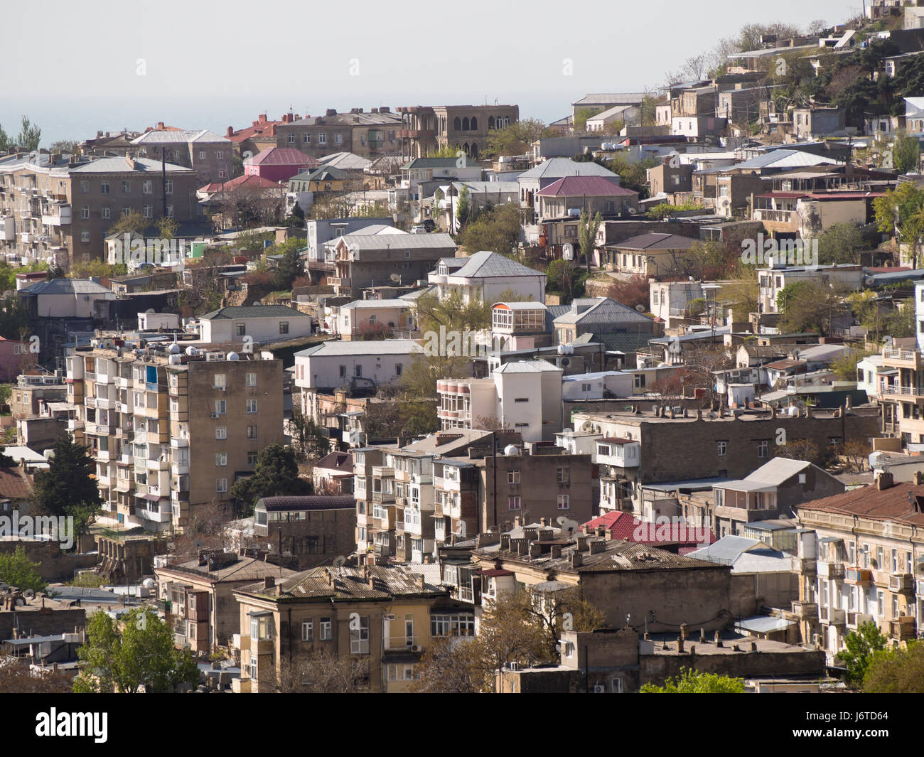 Baku, the capital city of Azerbaijan, on the shore of the Caspian sea, view of the residential district Bayil from - Stock Image