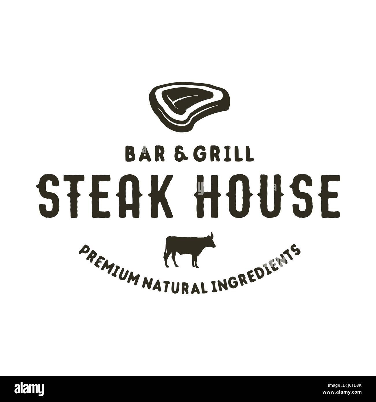 Steak house logo design. Bar and grill logotype, emblem ...