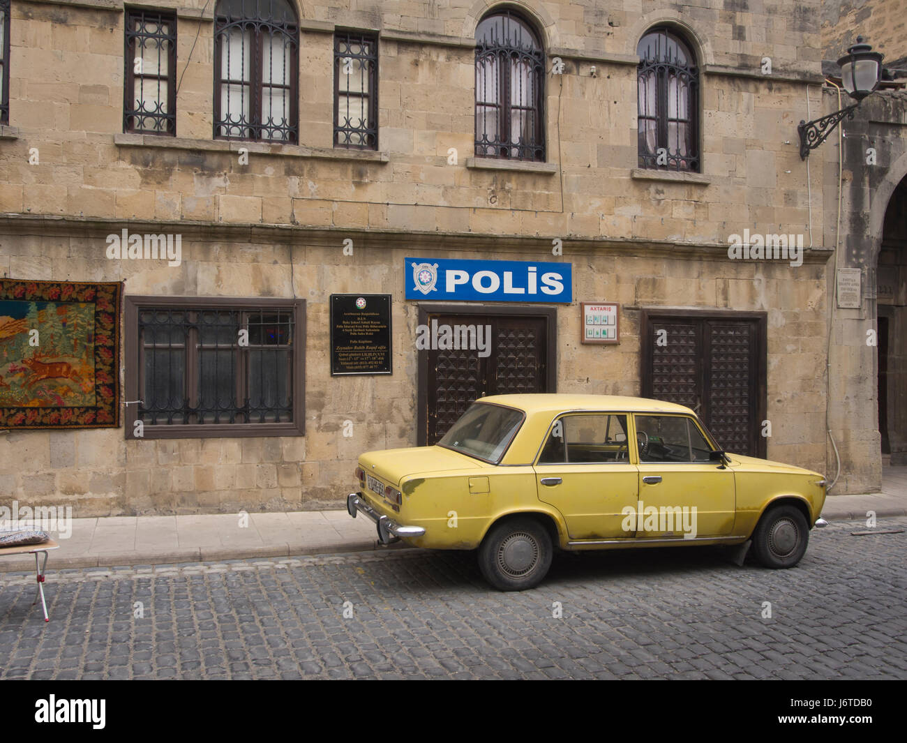 Police station in the Baku old town, Icheri sheher, area in the inner city surrounded by fortification walls, Unesco - Stock Image