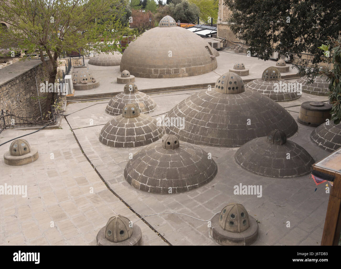 Bathhouse roof with domes in the Baku old town, Icheri sheher, area in the inner city surrounded by fortification - Stock Image