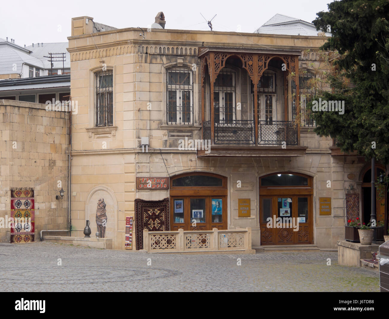 Travel agent in Baku old town, Icheri sheher, area in the inner city surrounded by fortification walls, Unesco World - Stock Image