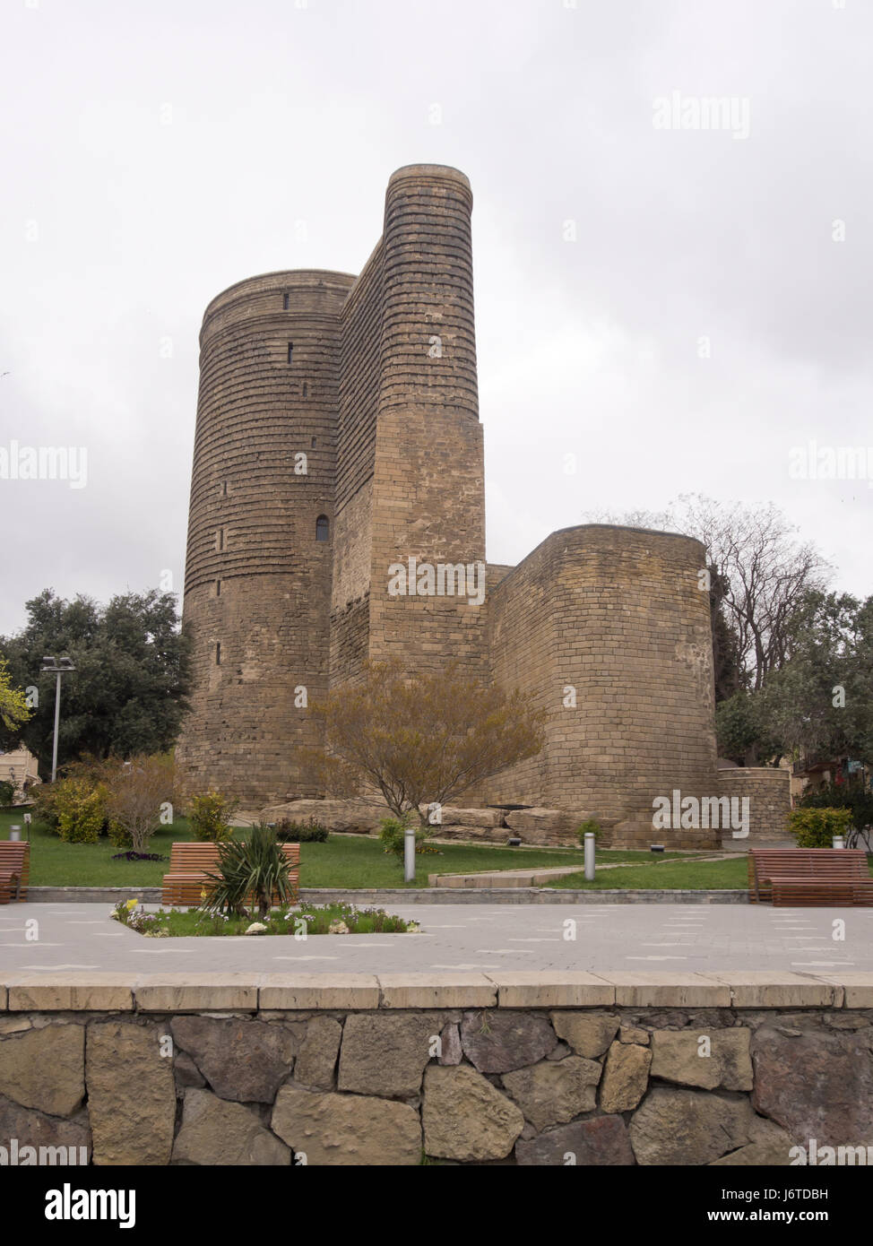 The Maiden Tower in Baku old town, Icheri sheher, area in the inner city surrounded by fortification walls, a Unesco - Stock Image