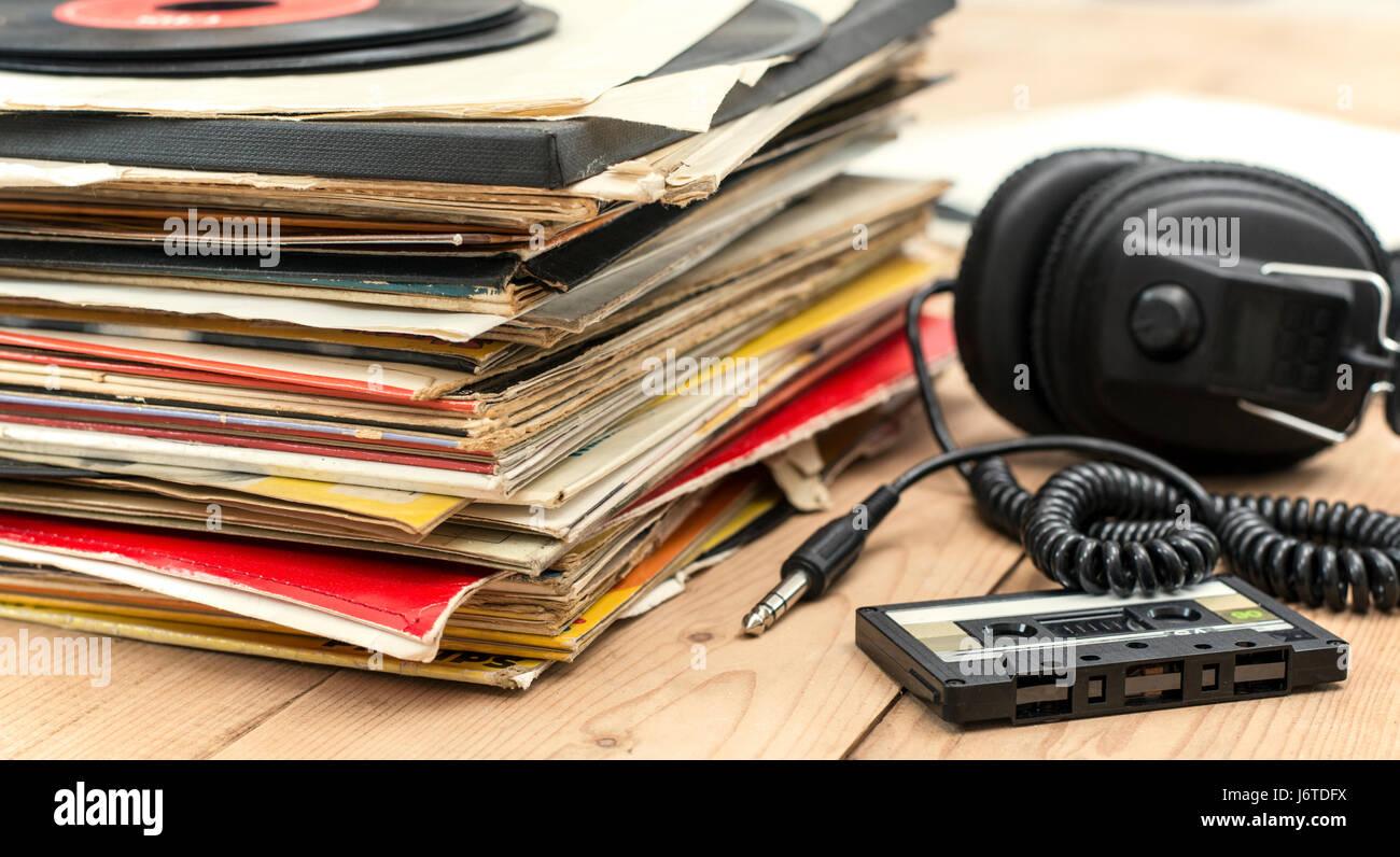 retro music background - Stock Image