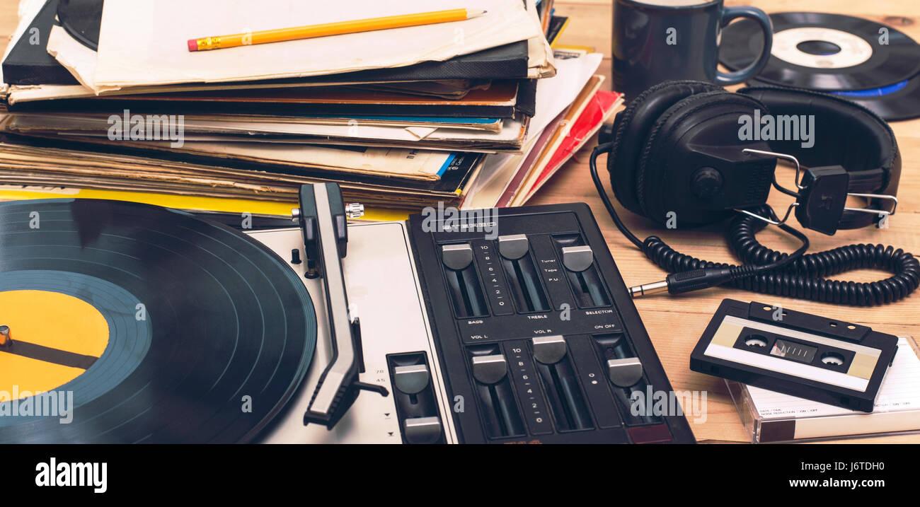 retro turntable music background - Stock Image