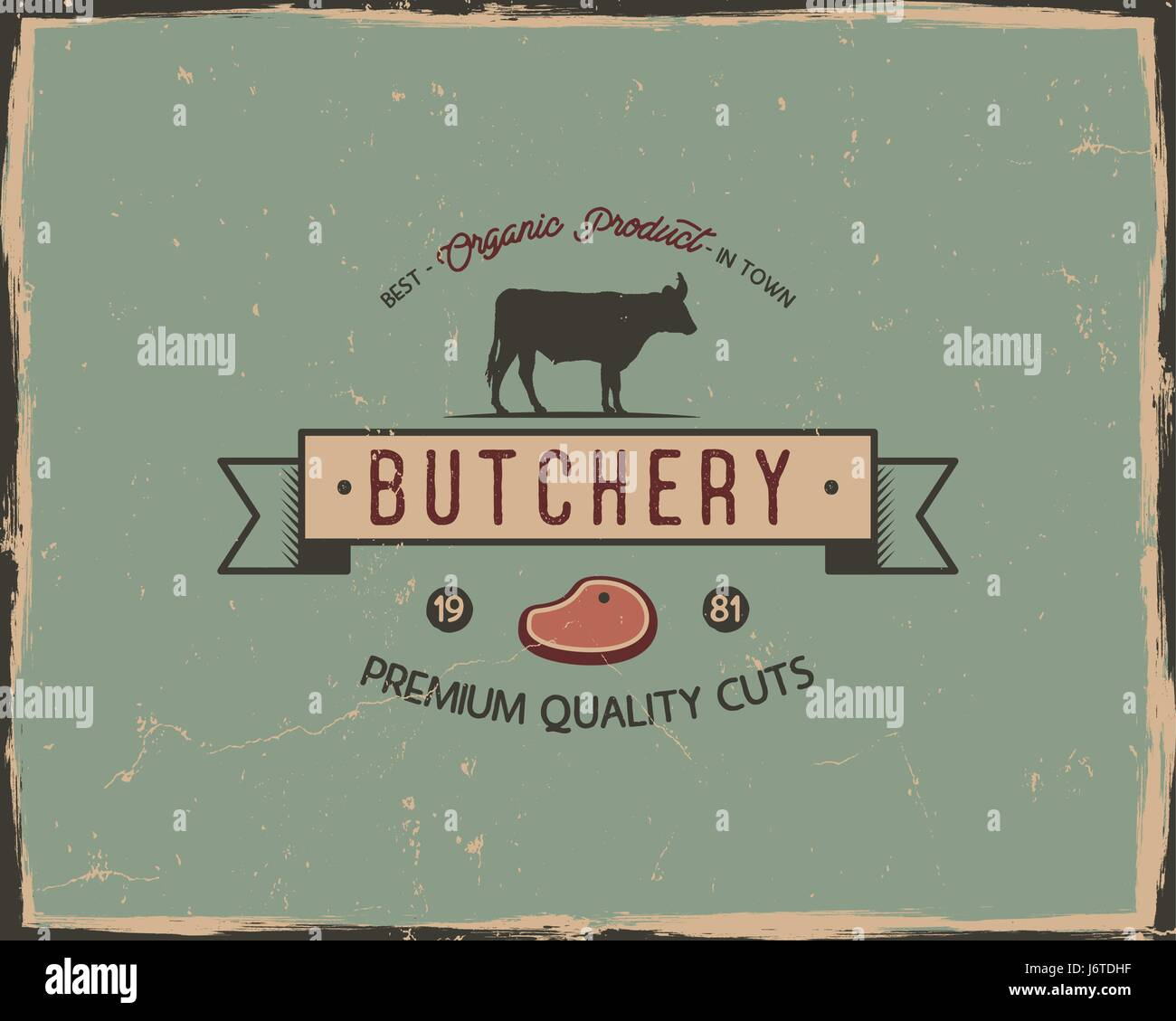 butchery shop typography poster template in retro old style offset