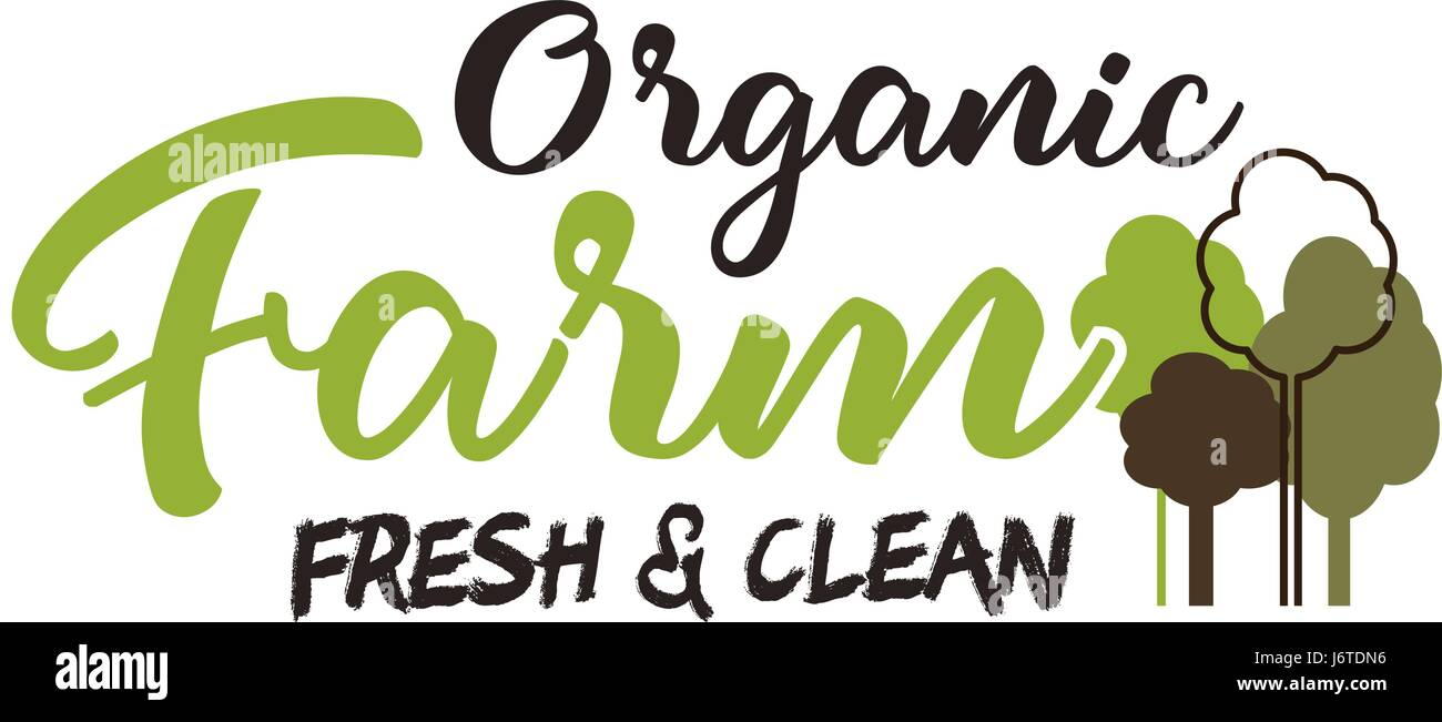 Organic farm typography emblem  Lettering and calligraphy