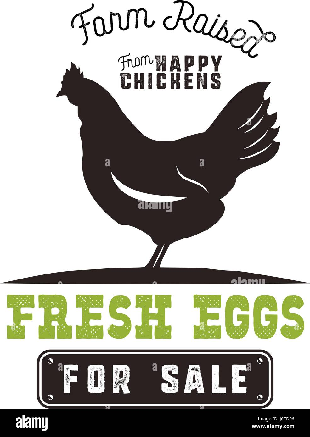 Farm Fresh Eggs Poster Vintage Rustic Emblem With Chicken Retro Typography Style Black And Green Vector Design Isolated On White Background