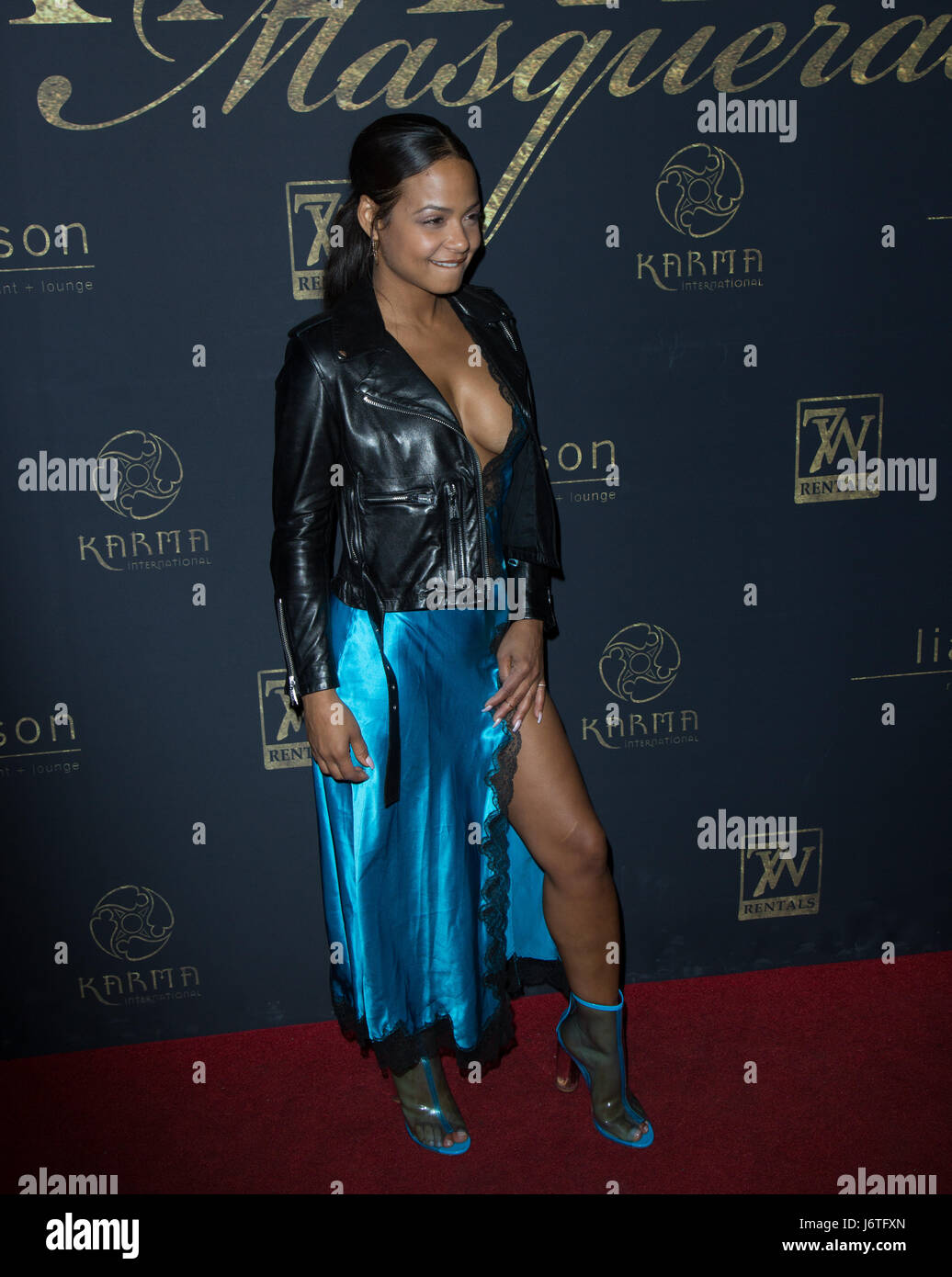Singer / TV Personality Christina Milian attends Karma International's 9th Annual 'Karma Masquerade' - Stock Image