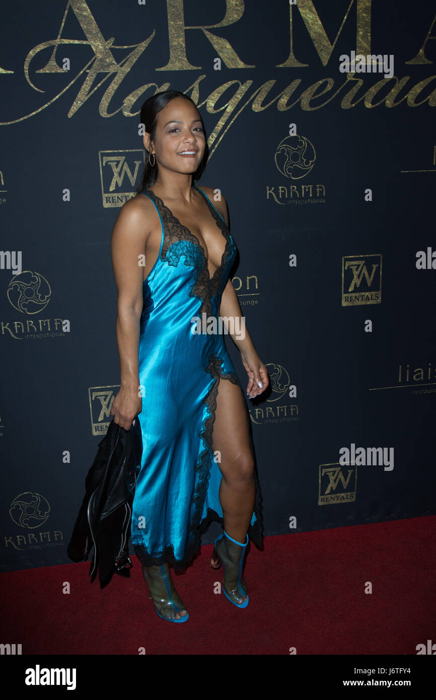 Singer / TV Personality Christina Milian attends Karma International's 9th Annual 'Karma Masquerade' - Stock Image