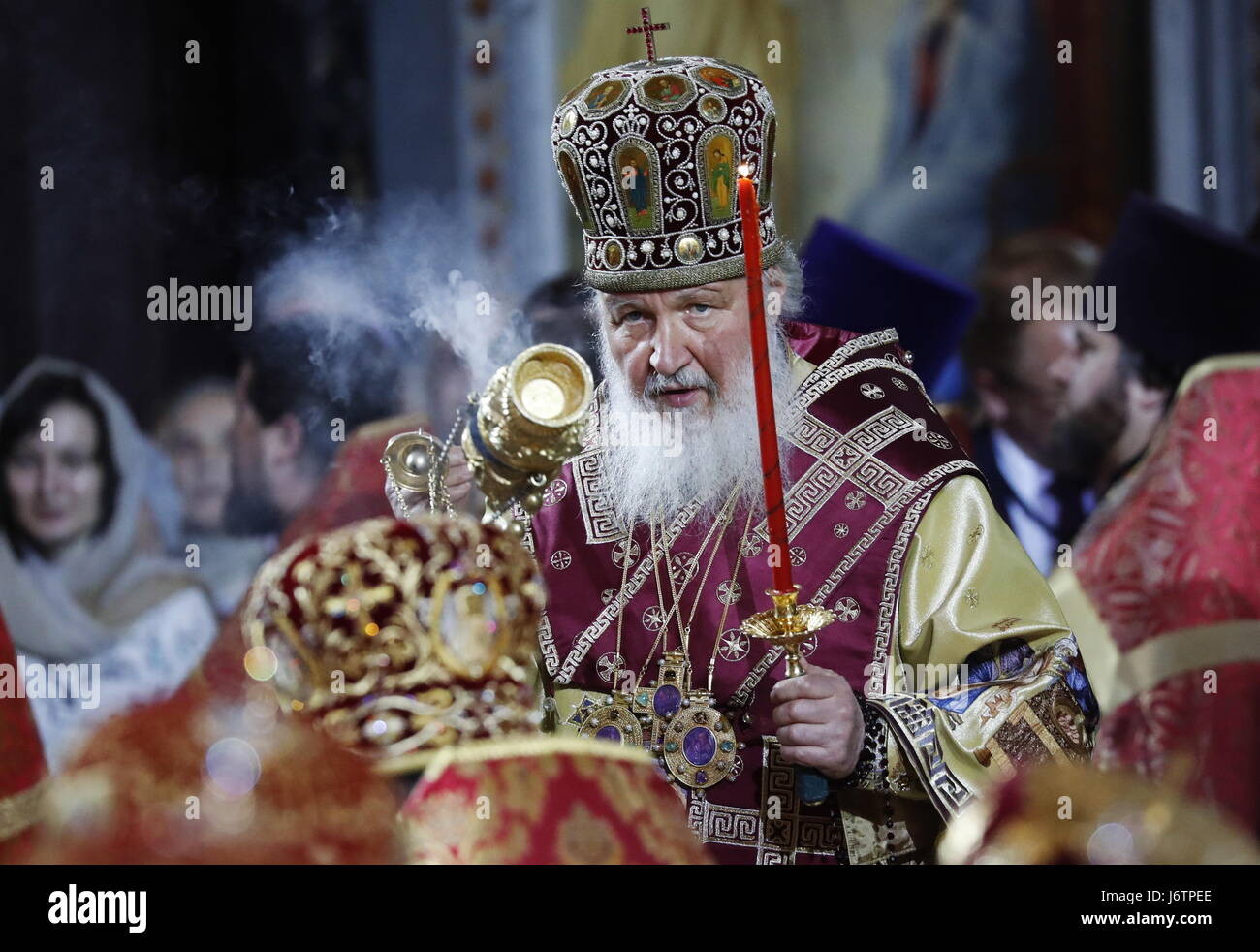Moscow, Russia. 21st May, 2017. Patriarch Kirill of Moscow and All Russia seen during a ceremony to greet an ark - Stock Image