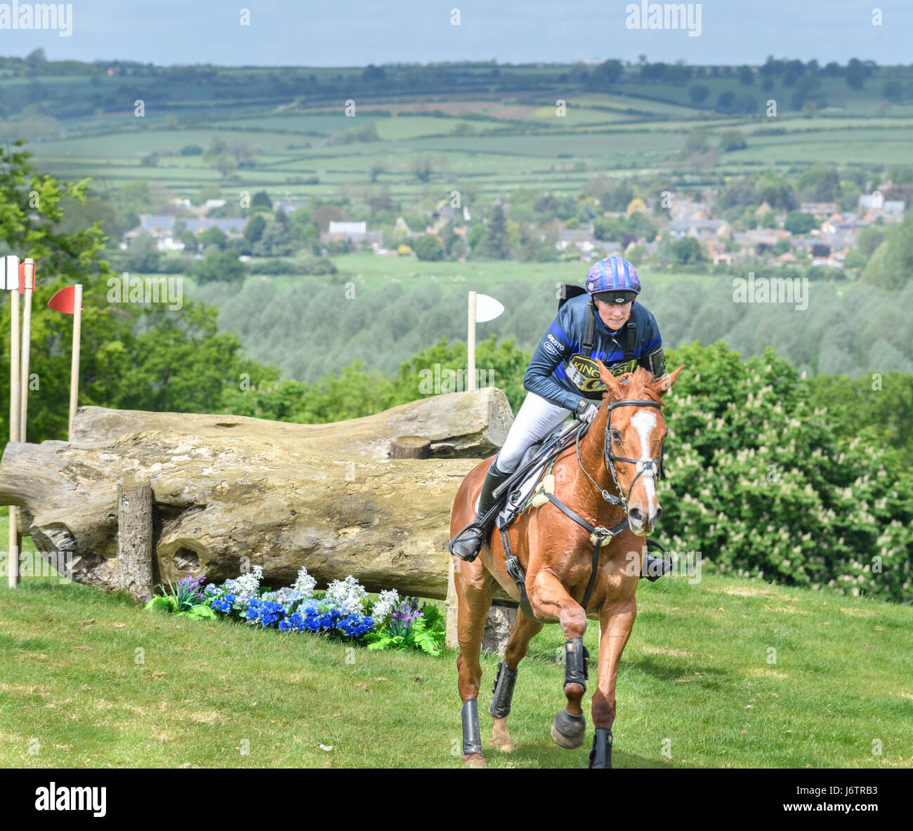 Rockingham Castle, Corby, UK. 21st May, 2017. Riding Drops of Brandy, Zara Tindall (granddaughter of Queen Elizabeth Stock Photo