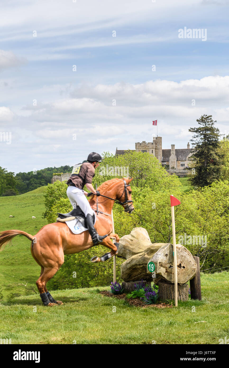 Rockingham Castle, Corby, UK. 21st May, 2017. Richard P Jones and his horse Killaboy Bob clear a log obstacle with Stock Photo