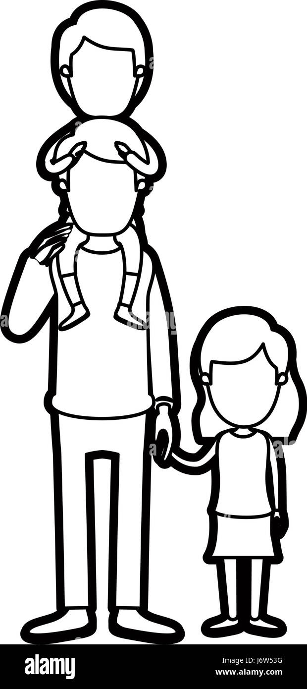 caricature thick contour faceless dad with boy on his back and girl taken hands - Stock Image