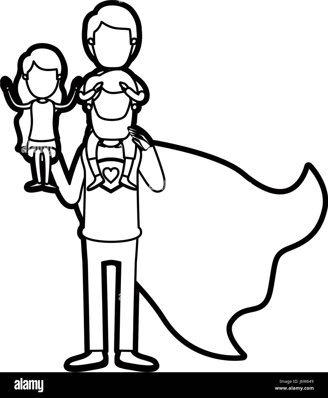 caricature thick contour faceless full body super dad hero with girl on his hand and boy on his back - Stock Image